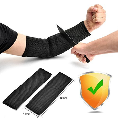 Glove Metal Mesh (Arm Protection Sleeve, Ideapro Kevlar Sleeve 40cm Cut Resitant Burn Protective Anti Abrasion Safety Arm Guard for Garden Kitchen Farm Work 1 Pair (Black))