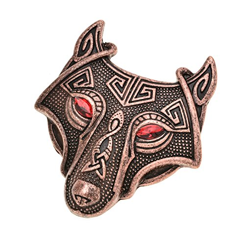 W WOOGGE Viking Norse Wolf Head Brooch Pin Red Eye Antique Copper Gothic Pendant Irish Viking Penannular Clothes Fasteners Scarf Lapel Pin]()