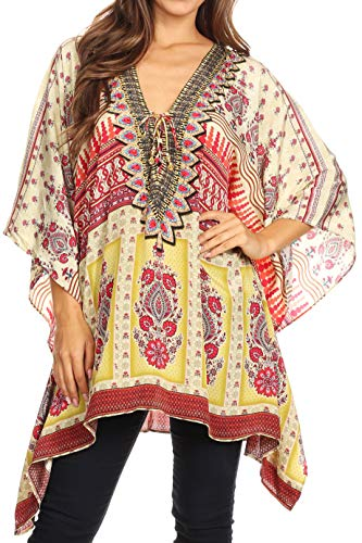 Sakkas 1825 - Aymee Women's Caftan Poncho Cover up V Neck Top Lace up with Rhinestone - TM97-Multi - OS