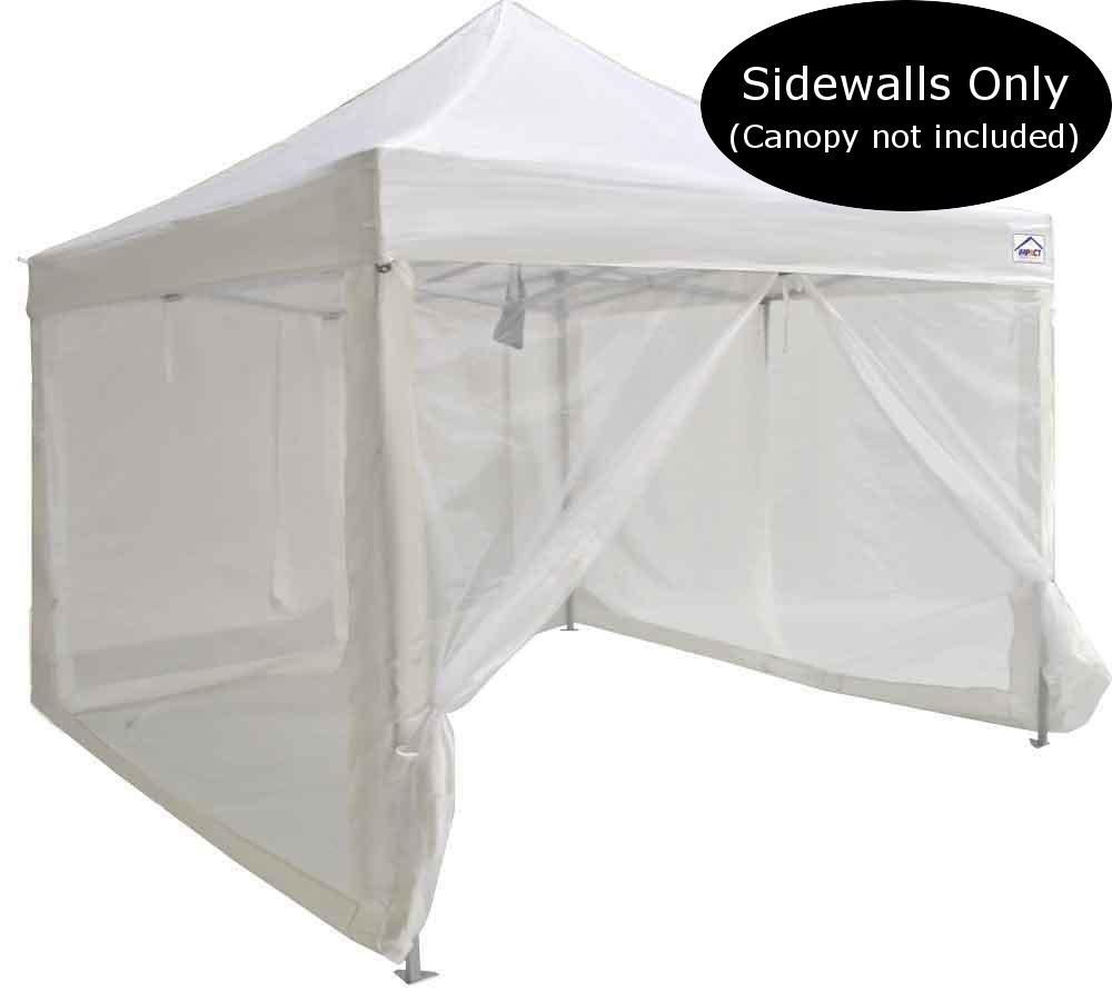 Impact Canopy Tent Walls, Mesh Screen Zippered Sidewall Panels for 10x10 Instant Pop Up Tent Gazebo, Screen Room, Walls ONLY, White Impact Canopy USA 033150001-VC