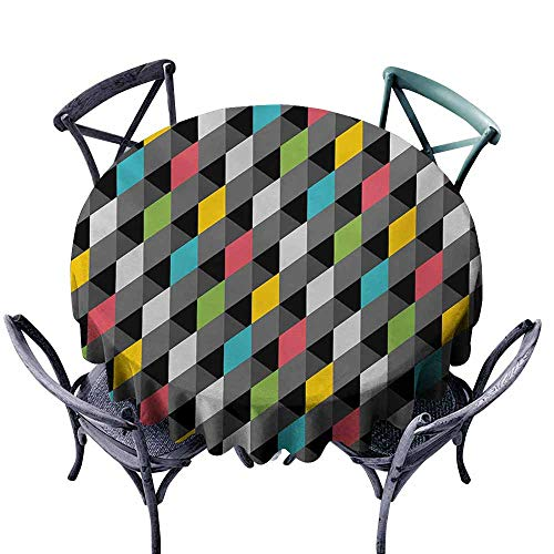 VIVIDX Stain Round Tablecloth,Geometric,Abstract Art Style Illustration of Colorful Squares Modern Expression Pattern,Modern Minimalist,67 INCH,Multicolor