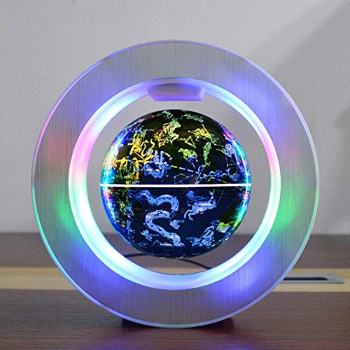 ZQYR Gift# Magnetic Floating Globe Levitation Rotating World Map with LED Lights Magnetic Levitation Floating Globe for Decoration in Office and House for Children,6 Inches