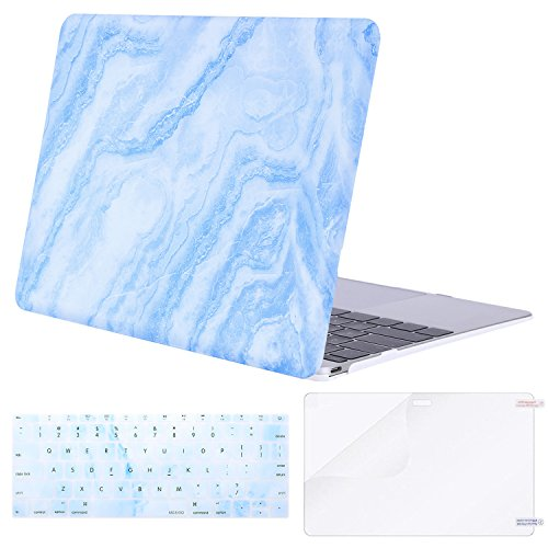 (MOSISO Plastic Pattern Hard Case & Keyboard Cover & Screen Protector Compatible MacBook 12 Inch with Retina Display A1534 (Newest Version 2017/2016/2015), White Blue Marble)