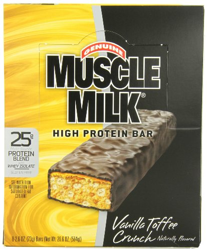 CytoSport Muscle Milk Bar, Vanilla Toffee Crunch,  73g Bars, Eight-Count Box