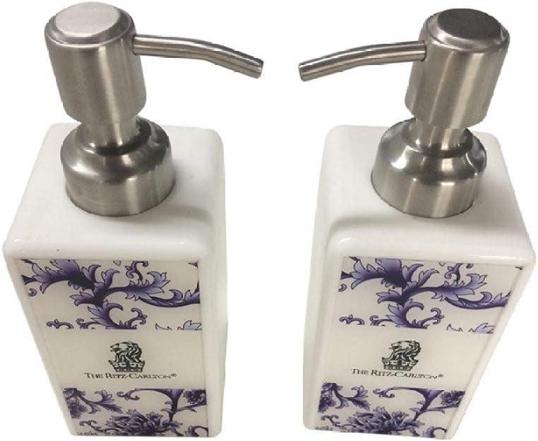 Dispensador Jabón,Moderno Conjunto De Porcelana Azul Y Blanca Cuadrada De Color Beige Encimera Rellenada Botella De Loción con Bomba Vacío Dispensador De Contenedor De Jabón para Cocina Baño of