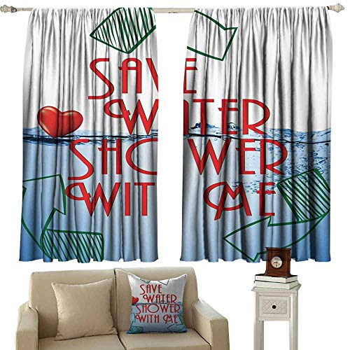 (curtain tiebacks Funny Sexy,Invitation Save Water Shower with Me Sexy Decor Recycling Earth Lover Funny Heart Kinky Home Funny Couples Quote Adult,Red Blue Green White 84