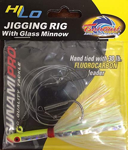 TSUNAMI HI-LO JIGGING RIG W/GLASS MINNOW GREEN CHARTREUSE/YELLOW   B06XDQ3ZCB
