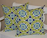 Set of 2 - Indoor / Outdoor 20'' Square Decorative Throw / Toss Pillows - Blue, Green, Yellow, White Bohemian Floral Sundial