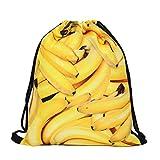Susi&Rita Gym Drawstring Bags Sport Yoga School Backpack 3D Design (Banana) For Sale
