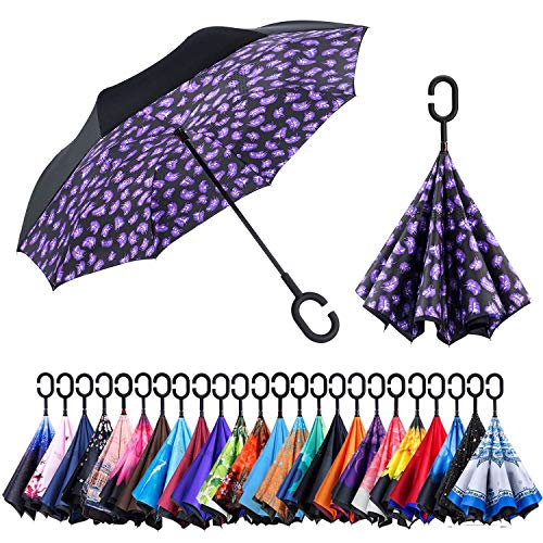 Newsight Reversible Umbrella - Dual Layer Inverted Umbrella, Self-Stand & C-Shape Hook to Free Hands, Reverse Inside Out Folding (Feather of -