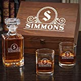 Canton Engraved Whiskey Decanter Set with Carson Decanter and Eastham Glasses (Customizable Product)