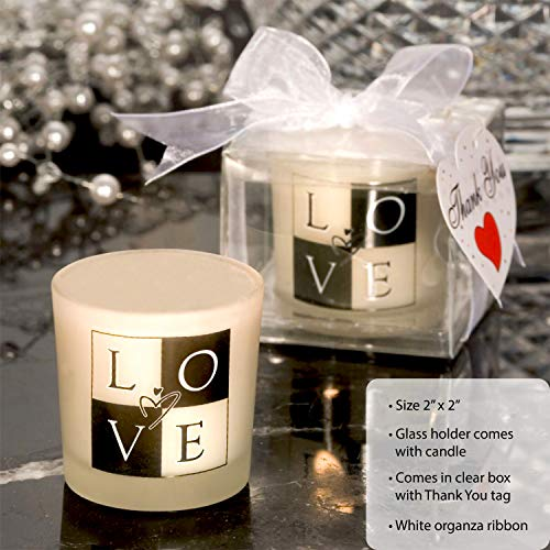 FASHIONCRAFT Love Frosted Glass Votive Candle Holder, with Tealight Candle, Black and White Design, for Wedding Favors, Baby Shower, Centerpieces & Home Decor - Set of 96