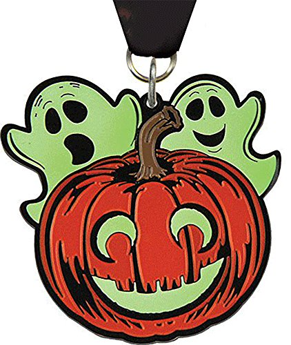 Trophy Depot 2.5 inch Halloween Glow in the Dark Pumpkin Medal- 4-pack