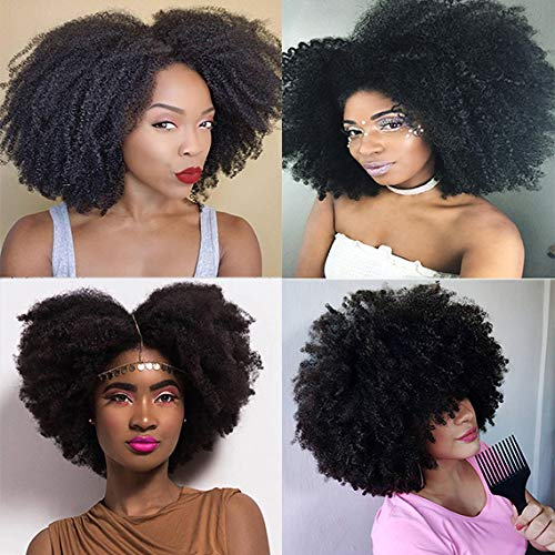 Saga Queen Brazilian Afro Kinky Curly Clip In Hair Extensions 9pcs 20clips 120g/pck Brazilian Virgin Remy Human Hair Afro Clip Ins Natural Black Color