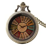 Creative Colorful Dial Vintage Quartz Pocket Watch With Chain For Women Men Students