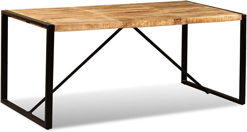 SHENGFENG Mesa de Comedor Marrón y Negro con Ruedas,Mesa para Jardín Mesa de Cocina Mesa de Exterior,de Madera de Mango + Acero 180 x 90 x 76 cm: Amazon.es: Hogar