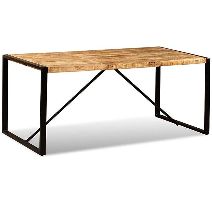 SHENGFENG Mesa de Comedor Marrón y Negro con Ruedas,Mesa para Jardín Mesa de Cocina Mesa de Exterior,de Madera de Mango + Acero 180 x 90 x 76 cm: Amazon.es: ...
