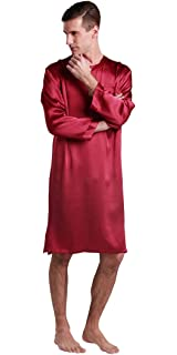 ec0b998e2b LILYSILK Men s Silk Nightshirt Knee Length Dressing Gown 22 Momme Pure Silk