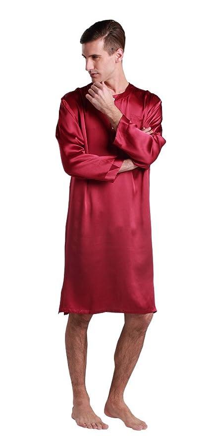 LILYSILK Men\'s Silk Nightshirt Knee Length Dressing Gown 22 Momme ...