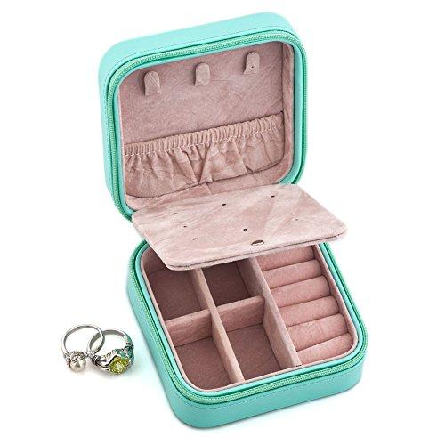 LuckyJewelry Small Faux Leather Travel Jewelry Box Organi...