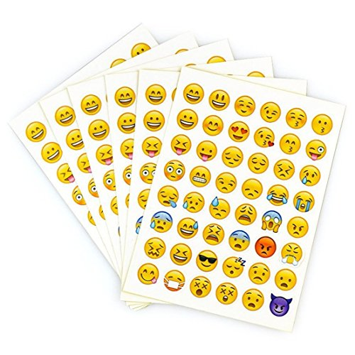 Delightful 2 Sheet 96 Die Cut Size 1.5cm for Cellphone Tablet Random Emoji Stickers
