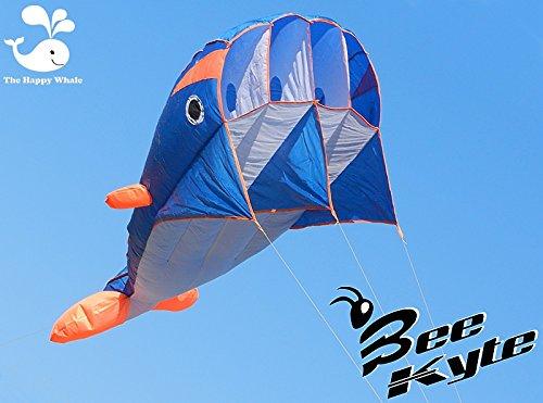 Bee-Kite Happy whale - Monofil Parafoil Drachen 220 x 75 cm. ohne Zusammenbau in Walfischform mit einem langen Tail von 180 cm