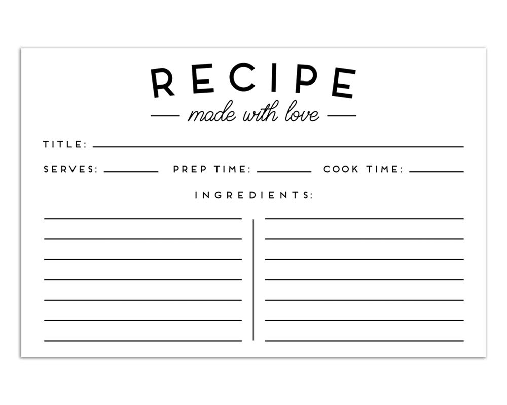 Set of 50 Premium Recipe Cards - 4x6 Double Sided - Black and White Modern Style