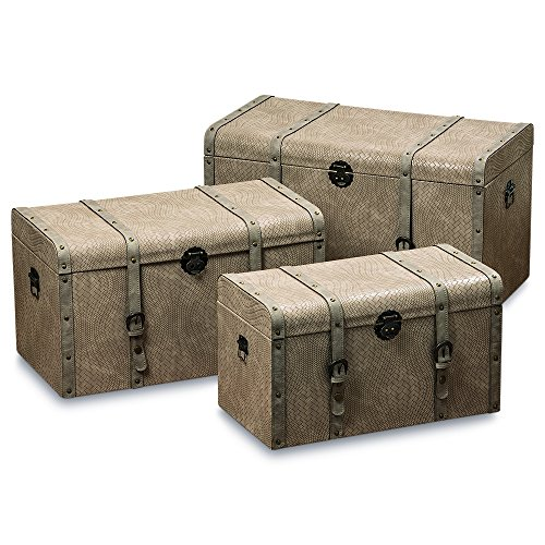 Leather Steamer Trunk - Whole House Worlds The Tribeca Steamer Trunks, Treasure Chests, Storage Boxes, Set of 3, Beige Faux Woven Leather, Stitched Studded Straps, Metal Side Handles, Latch, Various Sizes, By