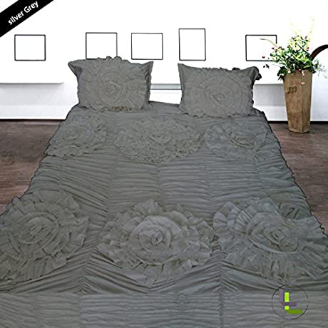 Bed Bee Olympic Queen 500TC Wonderful 1PC Flower Ruffle Duvet Cover 2 Pillowcases Solid Silver Grey Solid 100 Egyptian COTTON