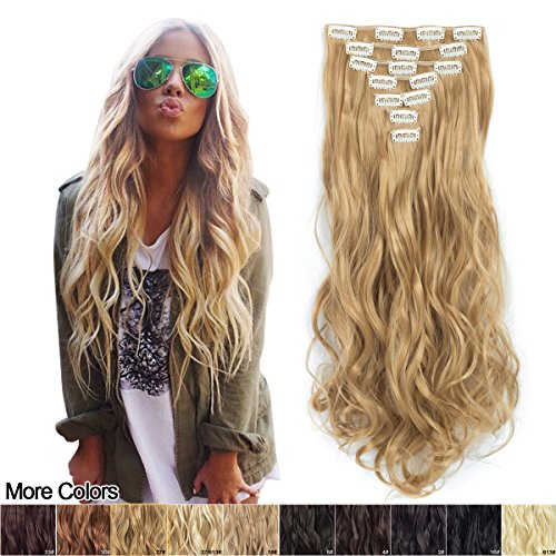 7Pcs 16 Clips 20 Inch Curly Wave Clip in on Synthetic Hair Extensions Blonde Full Head High Temperature Fiber Wavy Hairpiece Gifts for Girl Lady Women (Gold 27#)