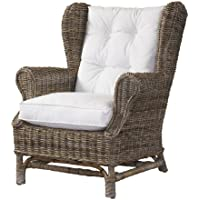 Padmas Plantataion Wing Chair, Kubu with White Cushion