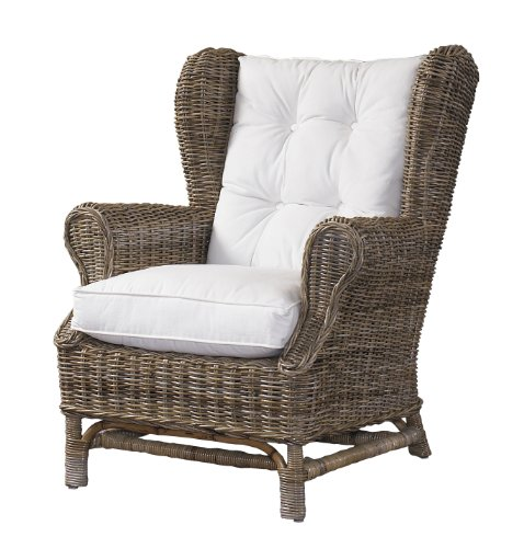Padma's Plantataion Wing Chair, Kubu with White Cushion (High Back Rattan Chairs)