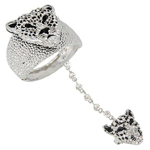 EVER FAITH Austrian Crystal Gorgeous Leopard Head Bracelet Adjustable Ring Set Clear Silver-Tone