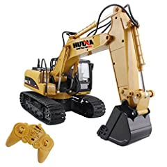 RC Excavator Remote Control Crawler Tractor 15 Channel 2.4G Construction Engineering Vehicle Digger Toys with Simulation Sound and Flashing Lights Full Function Electronics Hobby grade metal Diecast Model