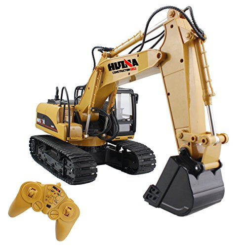 RC Truck Excavator Remote Control Crawler Tractor 15 Channel 2.4G Construction Engineering Vehicle Digger Toys with Simulation Sound and Flashing Lights Full Function Electronics Hobby Diecast Model
