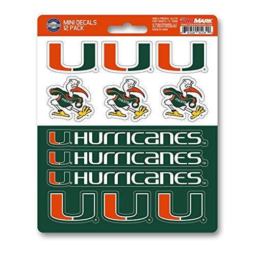 ProMark NCAA Miami Hurricanes Decal Set Mini (12 Pack), Team Color, One Size