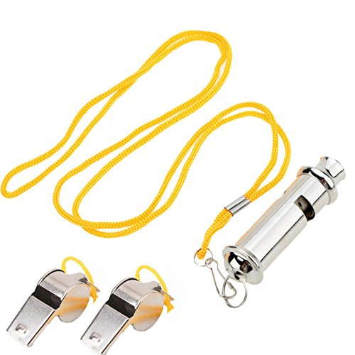 Referee Whistle Soccer Football Referee whistles Roller Cylindrical Coach Stainless Steel with Lanyard for Soccer Hockey Basketball and Outdoor Camping Climbing Emergency Survival (Set of 3)