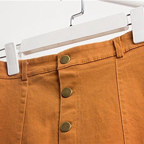 Couleur Slim En brun Haute Unie Polyéthylène Youthny Chic Taille Femme Jaune Jupe 5AqL3RS4jc