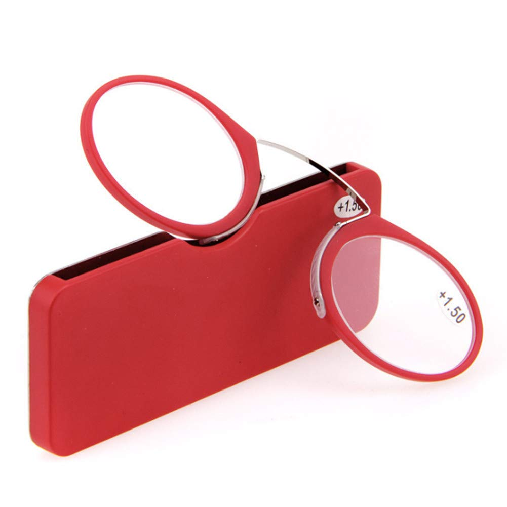 Reading Glasses Portable Nose Clip Armless Eyeglasses Pince Nez Nose Resting Pinching Presbyopic Glasses with Case for Men Women 5 Colors 6 Strength