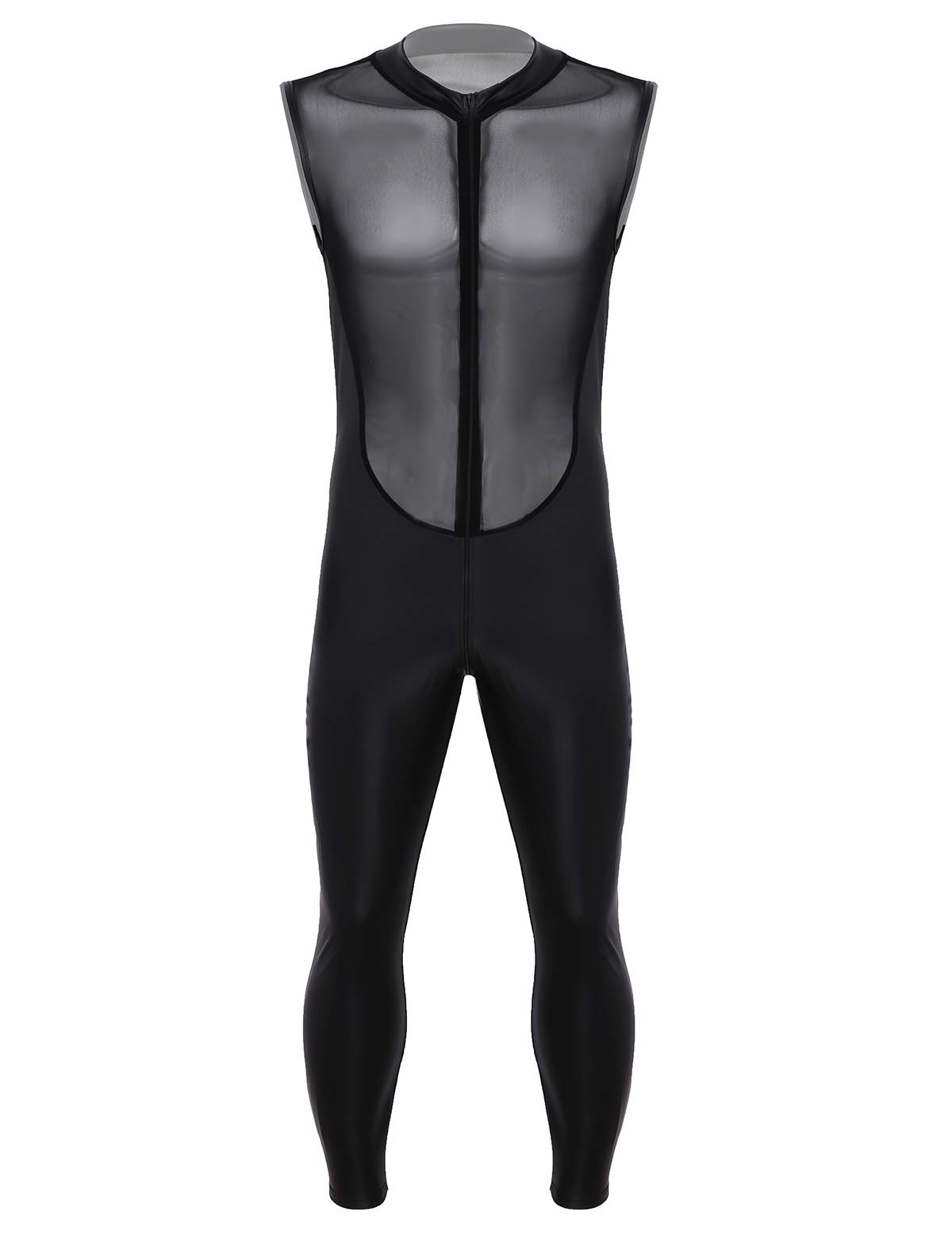 Agoky Mens Shiny Patent Leather Mesh Sheer Splice Tank Leotard Full Body Bodice Double Zipper Bodysuit Black Xx Large