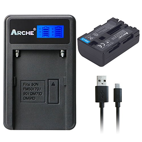 ARCHE NP-FM50 NPFM55H NP-QM51 Battery <1 Pack> and LCD Single Charger Set for [Sony BC-VW50, BC-V615 and CCD-TRV128 TRV138 TRV150 TRV208 TRV218 TRV228 TRV250 TRV308 TRV318 TRV328 TRV338 TRV350 TRV408] by ARCHE
