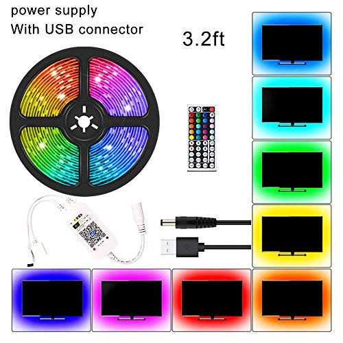 Led Strip Lights,Rgb Colour Changing Lighting Strip with Remote and Power Plug,Non-Waterproof,For Home Kitchen Christmas Wedding Party DIY Decoration