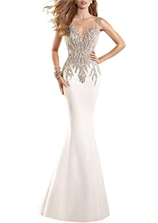 Prommay Pageant Prom Evening Crystal Illusion Back Mermaid Wedding Dress Size 2 Ivory