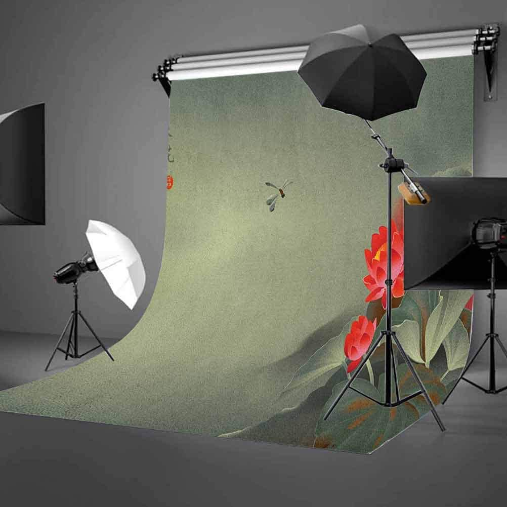 7x10 FT Dragonfly Vinyl Photography Background Backdrops,Traditional Japanese Painting with Lotus Blooms in Hazy Tones Design Background for Selfie Birthday Party Pictures Photo Booth Shoot
