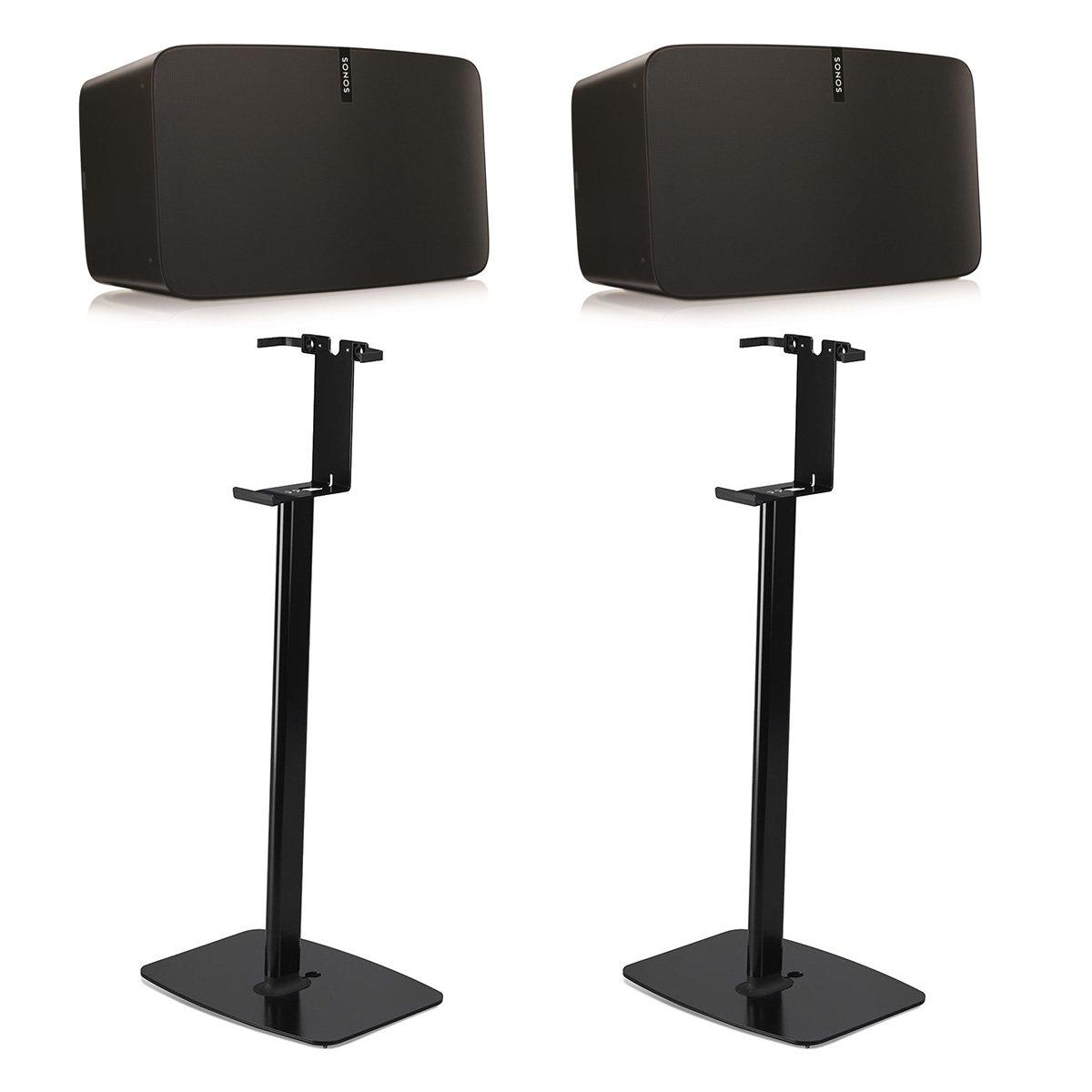 Sonos PLAY:5 Wireless Smart Speakers with Flexson Vertical Floor Stands - Pair (Black)