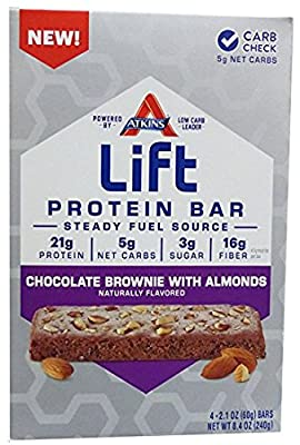 Atkins Lift Protein Bar, Chocolate Brownie with Almonds, 4 Bars (Pack of 2)
