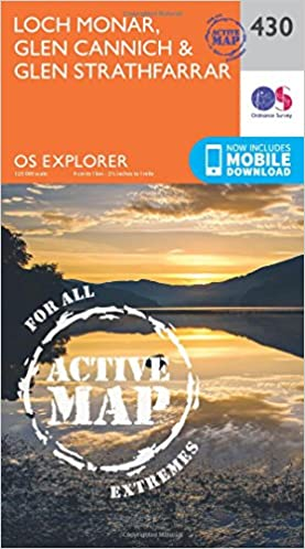 Loch Monar, Glen Cannich and Glen Strathfarrar (OS Explorer Active Map)