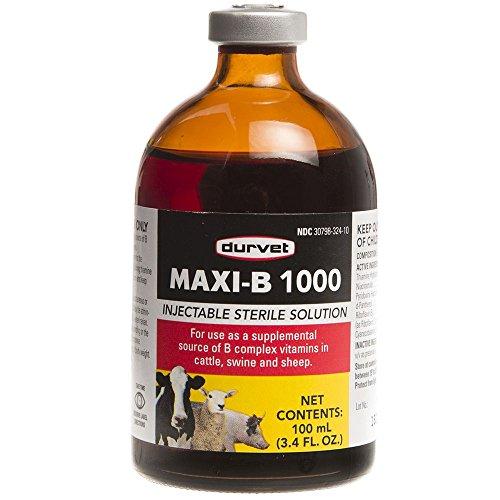 Vitamin B-complex Injectable - Durvet Maxi B 1000 100mL
