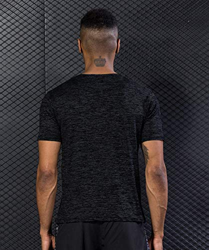 5 Pack Men's Active Quick Dry Crew Neck T Shirts   Athletic Running Gym Workout Short Sleeve Tee Tops Bulk 17