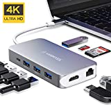 USB C Hub, VANMASS 9 in 1 Aluminum USB C Adapter, Thunderbolt 3 Dock, Type C to 4K HDMI, Gigabit Ethernet Port, 87W Power Delivery, 4 USB 3.0 Ports, TF&SD Card Reader Compatible with USB C Devices